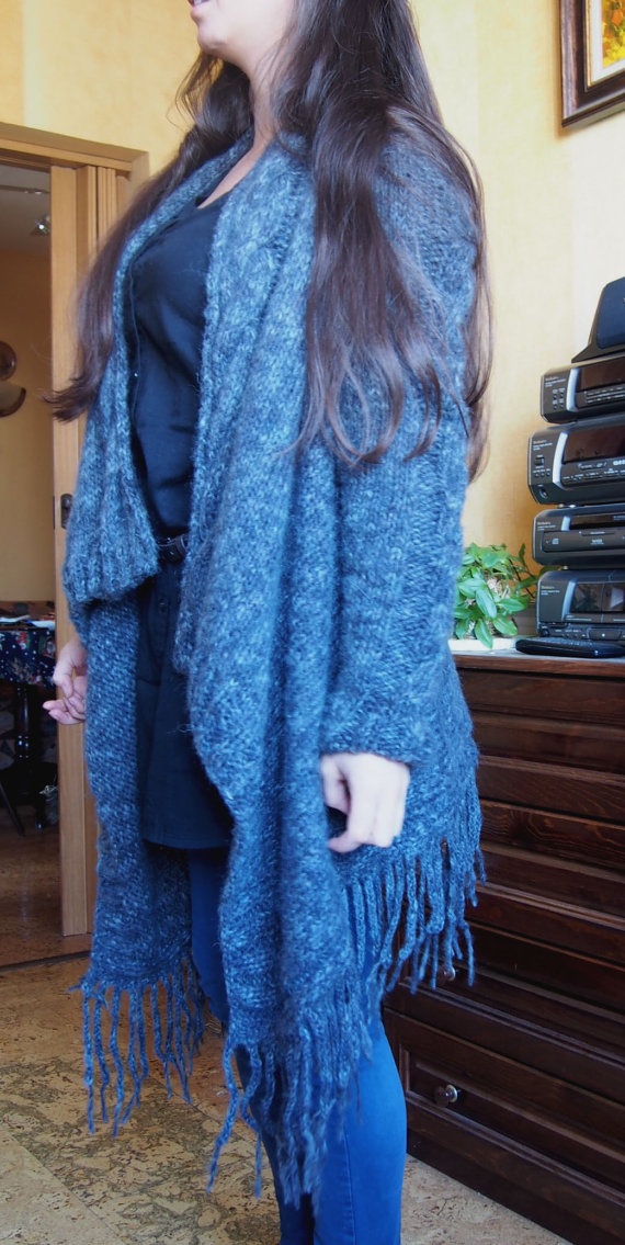 Handmade Oversized Cardigan Long Dolman Sleeve Jacket Long Version Wool